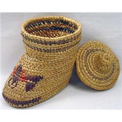 Unusual Vintage Eskimo Boot Shaped Basket W/ Lid -