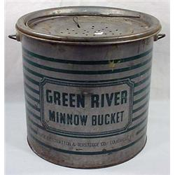Vintage Green River Minnow Bucket / Pail - Approx.