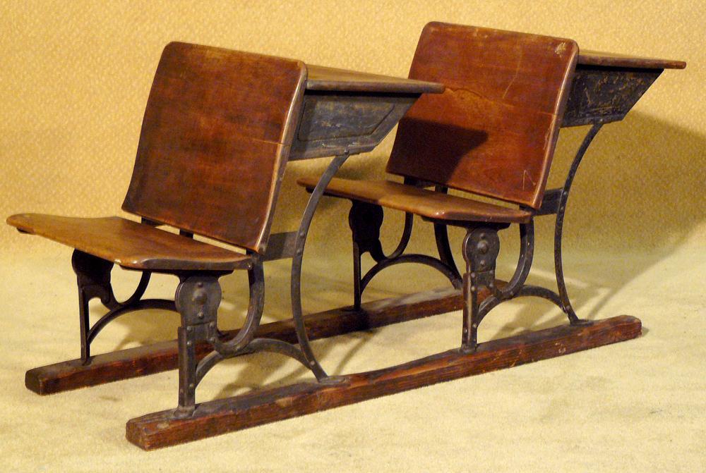Two Antique Wooden School Desks