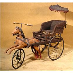 Victorian Children's Horse Carriage Bicycle Horse Buggy Rickshaw