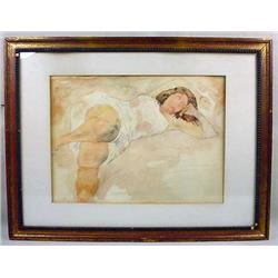 Vintage Framed Litho Of A Woman - Signed Raphael S