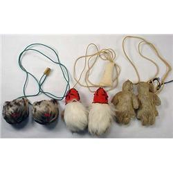 Lot Of 3 Vintage Eskimo Yo-Yo'S - Seal Fur