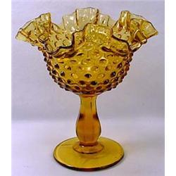 Vintage Fenton Amber Glass Hobnail Compote - Appro