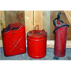 Lot Of 2 Vintage Gas Cans And A Gas Pump Tank Exti