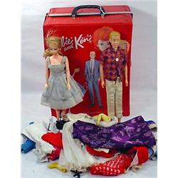 1964 Barbie And Ken Carrying Case W/ Clothes And K