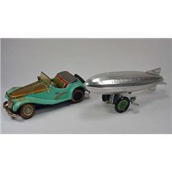 Lot Of 2 Vintage Toys - Car And Graf Zeppelin