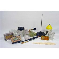 Lot Of Vintage Desk Items - Incl. Inkwells - Also
