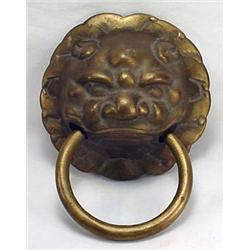 Solid Brass Chinese Lion / Foo Dog Head Door Knock