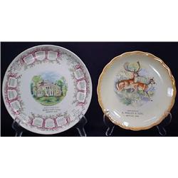 Lot Of 2 Antique Oregon Souvenir Advertising Plate