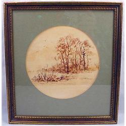 Vintage Framed Watercolor By Kathy Glasnap - Appro