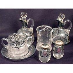 Lot Of Vintage Silver Overlay Glassware - Creamer,