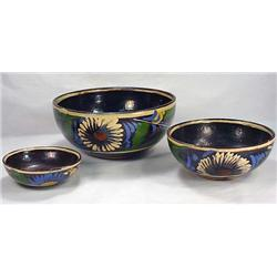 Set Of 3 C. 1920'S Mexican Nesting Bowls