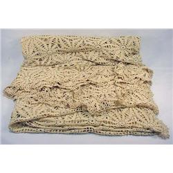 """Vintage Crocheted Coverlet - Approx. 92"""" X 100"""""""