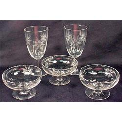 Lot Of 5 Vintage Cut Glass Stemware