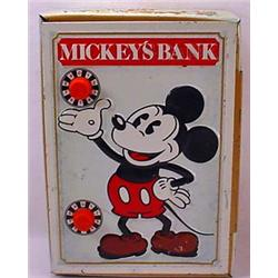 Vintage Disney Tin Mickey Mouse Bank - Shaped Like