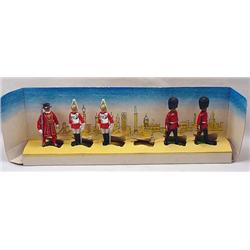 5 Vintage British Lead Soldiers In Orig. Box Displ