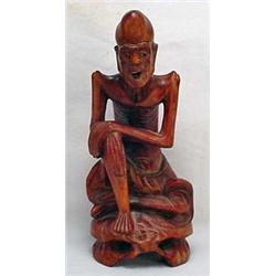 Antique Carved Rosewood Chinese Wise Man Figurine