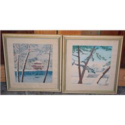 Lot Of 2 Framed Japanese Prints - Some Water Damag