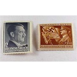 Lot Of 2 Ww2 German Nazi Adolf Hitler Stamps