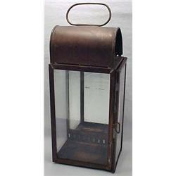 Antique Bronze Storm Lantern - Glass Panels And A