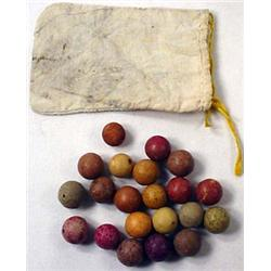 Lot Of Vintage Clay Marbles W/ Bag
