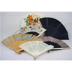 Lot Of 6 Vintage Asian Accordian Style Fans