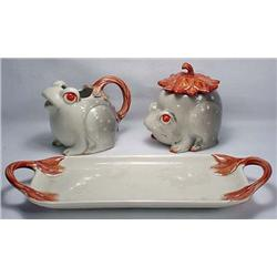 Fitz And Floyd Figural Frogs Sugar And Creamer Set