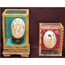 Lot Of 2 Vintage Hand Painted Eggs In Displays
