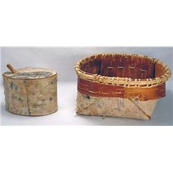 Lot Of 2 Vintage Birch Bark Baskets - 1 W/ Lid
