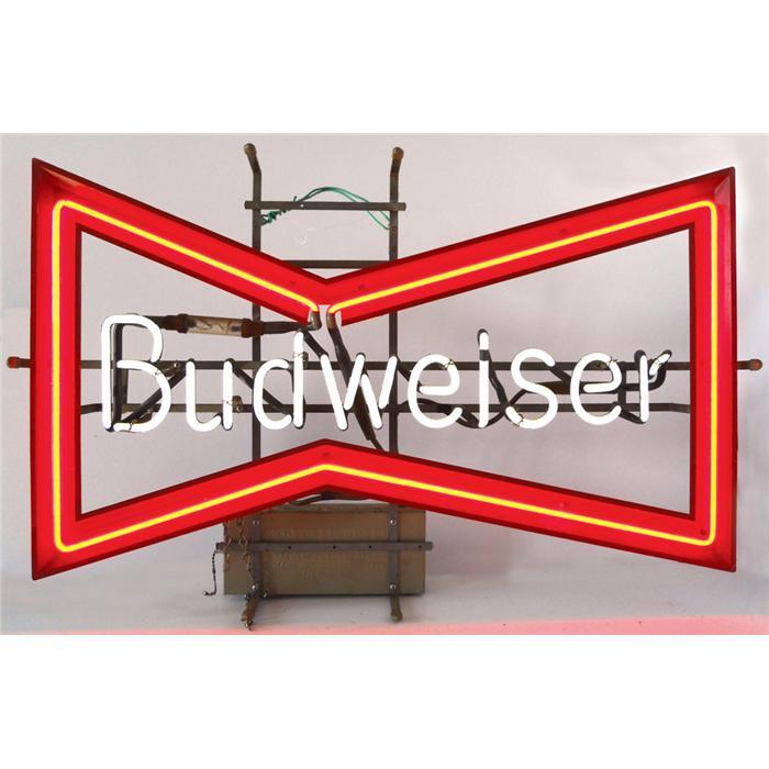 Breweriana, Budweiser bowtie neon sign, VG working cond, 19