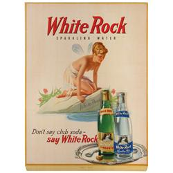 White Rock soda litho on cdbd sign, Sparkling Water & Ginger Ale bottles on tray are 3-dimentional d