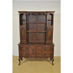 A 20th Century Mahogany Welsh Dresser with Painted Decoration.