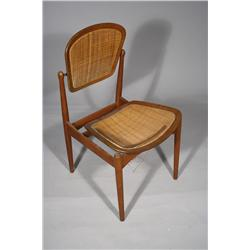 A 20th Century Arne Vodder Teak and Caned Side Chair with Pivoting Back,
