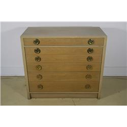 An Edward Wormley for Dunbar Walnut Six Drawer Silver Chest,