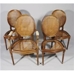 A Set of Four Provincial Style Mahogany Chairs,