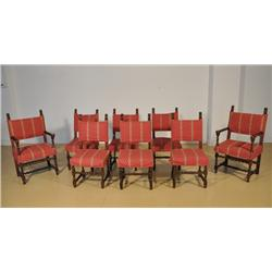 A Set of Eight Gothic Revival Style Mahogany Chairs,