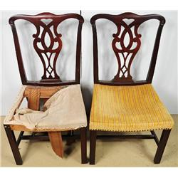 A Pair of Georgian Style Mahogany Side Chairs.