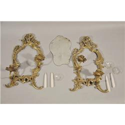 A Pair of Rococo Style Brass Two Arm Wall Sconces,