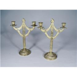 A Pair of Gilt Brass Two Arm Candelabras.