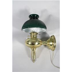 An Electrified Brass and Glass Oil Lamp.