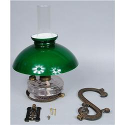 An American Glass and Brass Wall Mounted Oil Lamp.