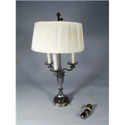 A French Purple Glass Brass and Marble Table Lamp.