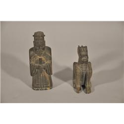 Two 19th Century Chinese Carved Soapstone Figures,