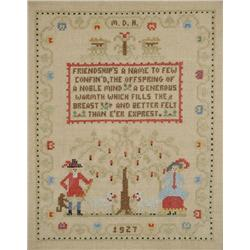 An Embroidered Sampler, dated 1927, Initialled M.D.H.,