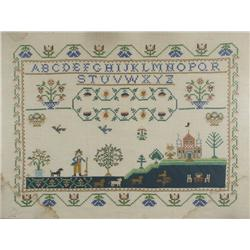 An Embroidered Sampler, 20th Century, with Alphabet, Animals, Figures, and Landscape Elements,