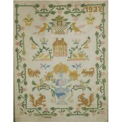 An Embroidered Sampler, dated 1932, with Flowers, House and Wildlife,