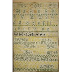 An Embroidered Sampler, with Alphabet, by Christina Husband,