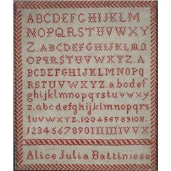 An Embroidered Sampler, dated 1888, by Alice Julia Battin,