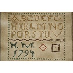 An Embroidered Sampler, dated 1794, Initialled H.M.,