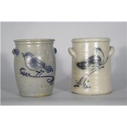 Two Stoneware Crocks with Cobalt Glaze Bird Motifs,